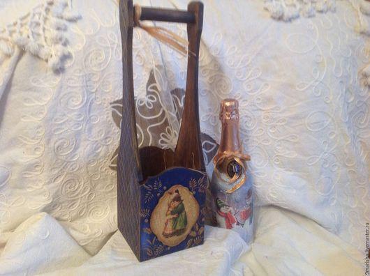 """Корзины, коробы ручной работы. Ярмарка Мастеров - ручная работа. Купить Короб для вина """" Новогодний"""".. Handmade. Винный короб"""
