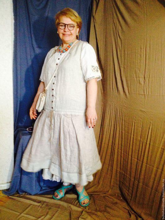 Платья ручной работы. Ярмарка Мастеров - ручная работа. Купить Платье Бохо Irina45. Handmade. Комбинированный, лен натуральный