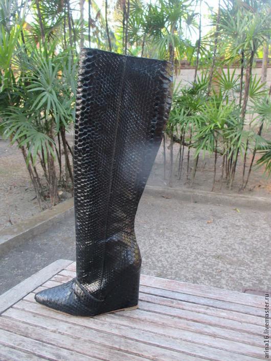 Обувь ручной работы. Ярмарка Мастеров - ручная работа. Купить сапоги из питона демисезонные. Handmade. Черный, сапоги ручной работы