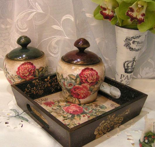 """Кухня ручной работы. Ярмарка Мастеров - ручная работа. Купить Набор для кухни горшочки и поднос """"Винтажные розы """" декупаж, винтаж. Handmade."""