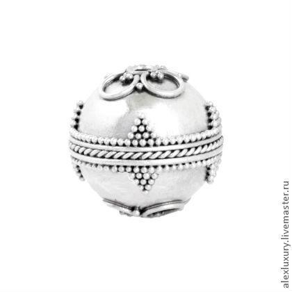 Для украшений ручной работы. Ярмарка Мастеров - ручная работа. Купить Reserved Серебро 925, Бусина Бали, 14х14,5мм, отв. 2мм. Handmade.