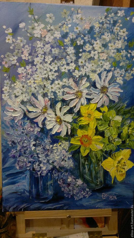 Картины цветов ручной работы. Ярмарка Мастеров - ручная работа. Купить Весенний аромат. Handmade. Синий, весна, масляная живопись