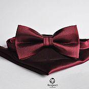 Аксессуары handmade. Livemaster - original item Satin Burgundy tie pocket square / Set Sangria. Handmade.