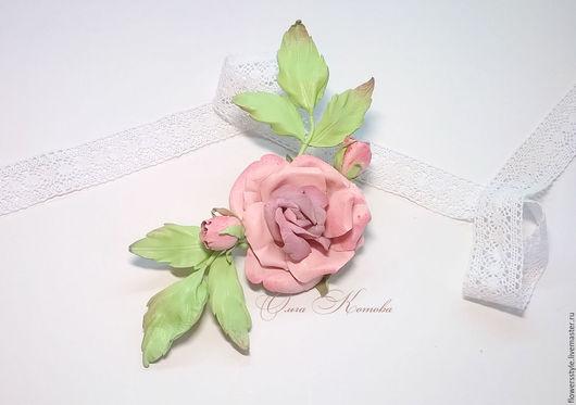 Броши ручной работы. Ярмарка Мастеров - ручная работа. Купить Брошь Роза из кожи Нежнее нежного Цветы из кожи. Handmade.