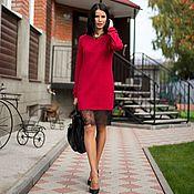 Платье-свитер из шерсти и вискозы с кружевом