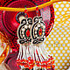 Earrings with Margaret fringe. Long earrings. Black red white, Earrings, Armavir,  Фото №1