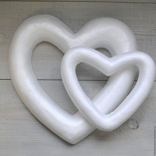 Сердце бублик пенопласт 20см,30см