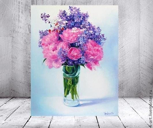 Картины цветов ручной работы. Ярмарка Мастеров - ручная работа. Купить Пионовая жизнь. Handmade. Голубой, красивый букет