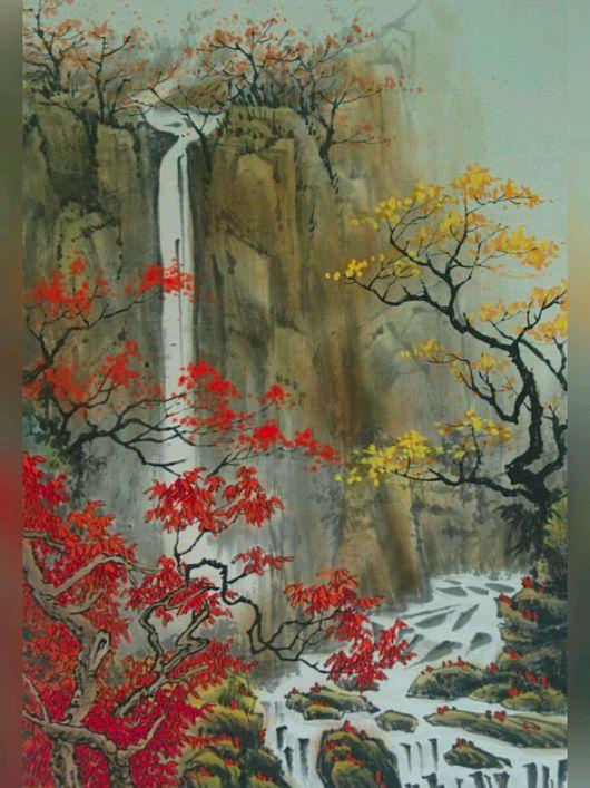 """Пейзаж ручной работы. Ярмарка Мастеров - ручная работа. Купить Картина на рисовой бумаге """"Золотая осень"""". Handmade. Пейзаж, водопад"""