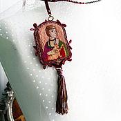 Украшения handmade. Livemaster - original item Brooch pendant embroidered with threads Lady with ermine. Handmade.