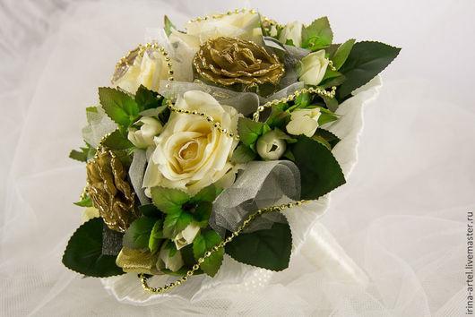 Свадебные цветы ручной работы. Ярмарка Мастеров - ручная работа. Купить Букет-дублер для невесты. Handmade. Золотой, букет невесты