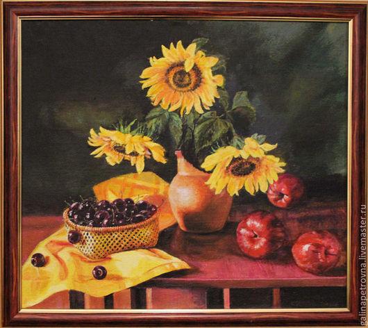 Натюрморт ручной работы. Ярмарка Мастеров - ручная работа. Купить Подсолнухи. Handmade. Оранжевый, яблоко, черешня, желтый, масло
