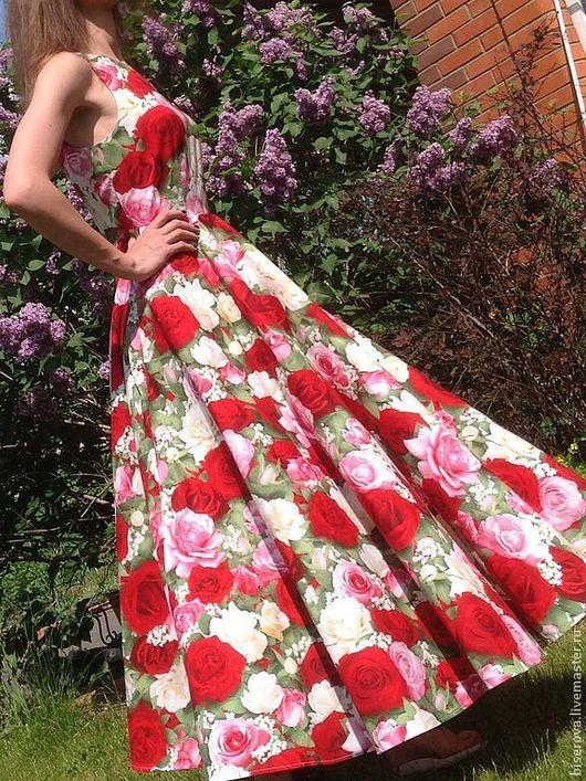 """Платья ручной работы. Ярмарка Мастеров - ручная работа. Купить Платье летнее из хлопка """"Розы"""". Handmade. Цветочный, юбка солнце"""