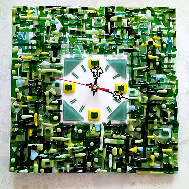 For home and interior handmade. Livemaster - original item Glass wall clock in fusing technique Emerald, size 28h28sm.. Handmade.