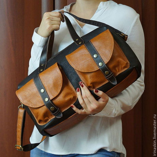 Кожаная сумка-саквояж с большими карманами. Ирина Болдина. Кожаная сумка на плечо. Большая кожаная сумка. Кожаная сумка коричневая, рыжая.
