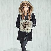 Одежда handmade. Livemaster - original item Black beaver fur coat with hood. Handmade.