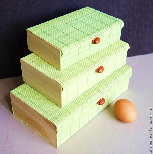 коробки бамбуковые зеленые. В наборе или поштучно.