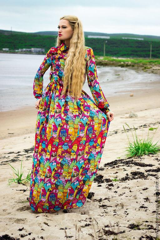 """Платья ручной работы. Ярмарка Мастеров - ручная работа. Купить Платье """"Лесные коты"""". Handmade. Разноцветный, Коктейльное платье"""