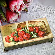 """Для дома и интерьера ручной работы. Ярмарка Мастеров - ручная работа Купюрница """"Корзина роз"""", шкатулка для денег. Handmade."""