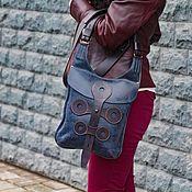 Классическая сумка ручной работы. Ярмарка Мастеров - ручная работа Сумка кожаная универсальная ручной работы МОНТИ этно-стиль. Синяя кожа. Handmade.