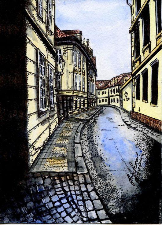 Город ручной работы. Ярмарка Мастеров - ручная работа. Купить Улица в Праге. Handmade. Комбинированный, картина, Прага, акрил, тушь
