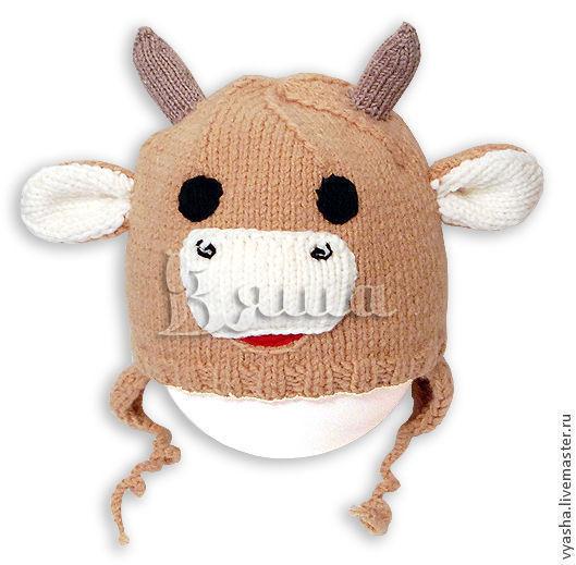 Шапки и шарфы ручной работы. Ярмарка Мастеров - ручная работа. Купить Шапочка вязаная Бычок для мальчика, зимняя, детская, теплая. Handmade.