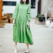 Одежда handmade. Livemaster - original item MIDI dress made of linen, cut at the waist with an asymmetrical clasp. Handmade.