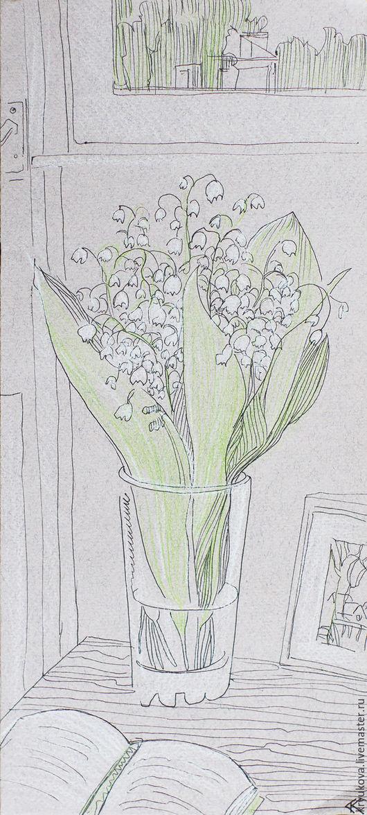 Анна Крюкова (impression-живопись) Картина с цветами Ландыш ландыши Цветы в вазе Картина графика цветы