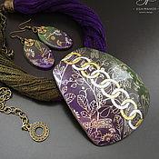 Украшения handmade. Livemaster - original item Pendant and earrings made of polymer clay