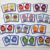 Игровые наборы ручной работы. Ярмарка Мастеров - ручная работа Карточки мемори РУКАВИЧКИ. Handmade.