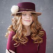 """Шляпа фетровая """"Инди"""". Канотье"""