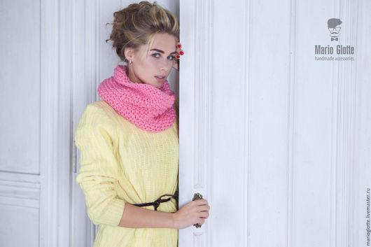 Комплекты аксессуаров ручной работы. Ярмарка Мастеров - ручная работа. Купить Вязаный снуд розового цвета. Handmade. Однотонный