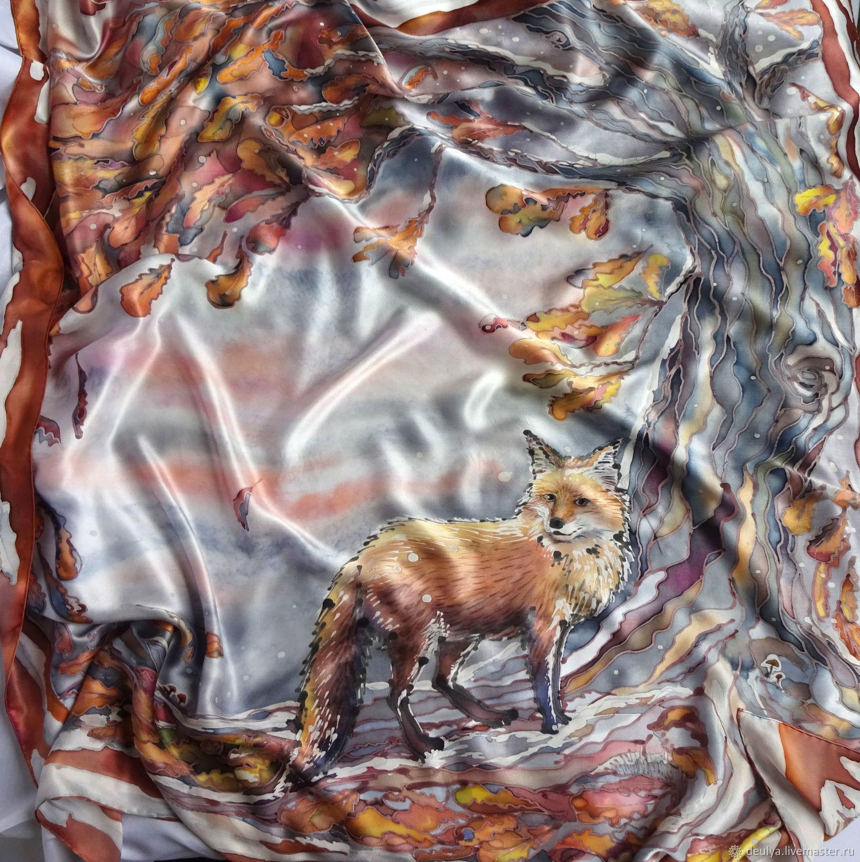 Batik, silk handkerchief ' Fox stories», Shawls1, Moscow,  Фото №1