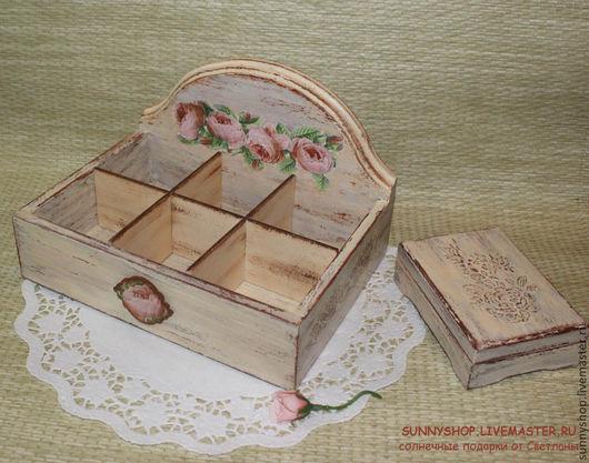 """Набор чайная шкатулка и визитница """"Подарок коллеге, начальнице"""" шебби шик розы розочки заказать москва открытая чайная шкатулка для чайных пакетиков сладостей визун"""