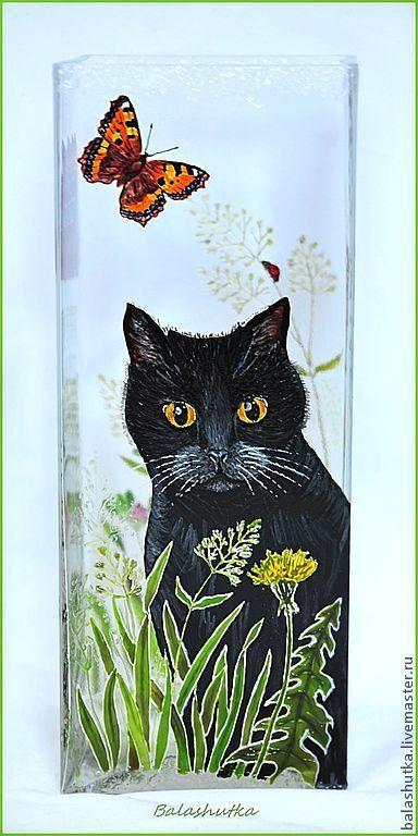 """Вазы ручной работы. Ярмарка Мастеров - ручная работа. Купить Ваза """"О коте и лете"""". Handmade. Кот, бабочки"""
