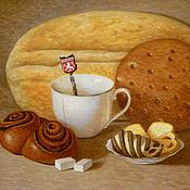 Картины и панно ручной работы. Ярмарка Мастеров - ручная работа Картина акварелью Приглашение к Чаю, бежевый коричневый. Handmade.