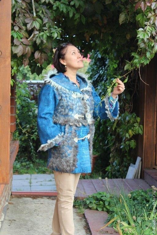 Верхняя одежда ручной работы. Ярмарка Мастеров - ручная работа. Купить пальто короткое с флисом Готланда. Handmade. Синий, готланд