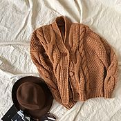 handmade. Livemaster - original item cardigans: Women`s bomber jacket large knit camel color with buttons. Handmade.