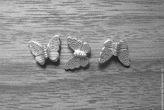Для украшений ручной работы. Ярмарка Мастеров - ручная работа. Купить Бусина бабочка (серебро)- КВ454. Handmade. Серебряный