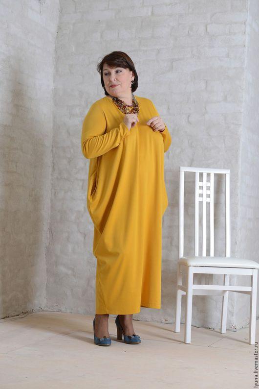 Большие размеры ручной работы. Ярмарка Мастеров - ручная работа. Купить Трикотажное платье-ромб с длинными рукавами бохо. Handmade.
