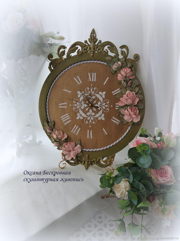 Часы настенные с розами, Часы классические, Дмитров,  Фото №1