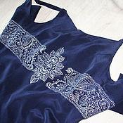 Платье шелковое Вечер в серебре Размер М Ручная роспись