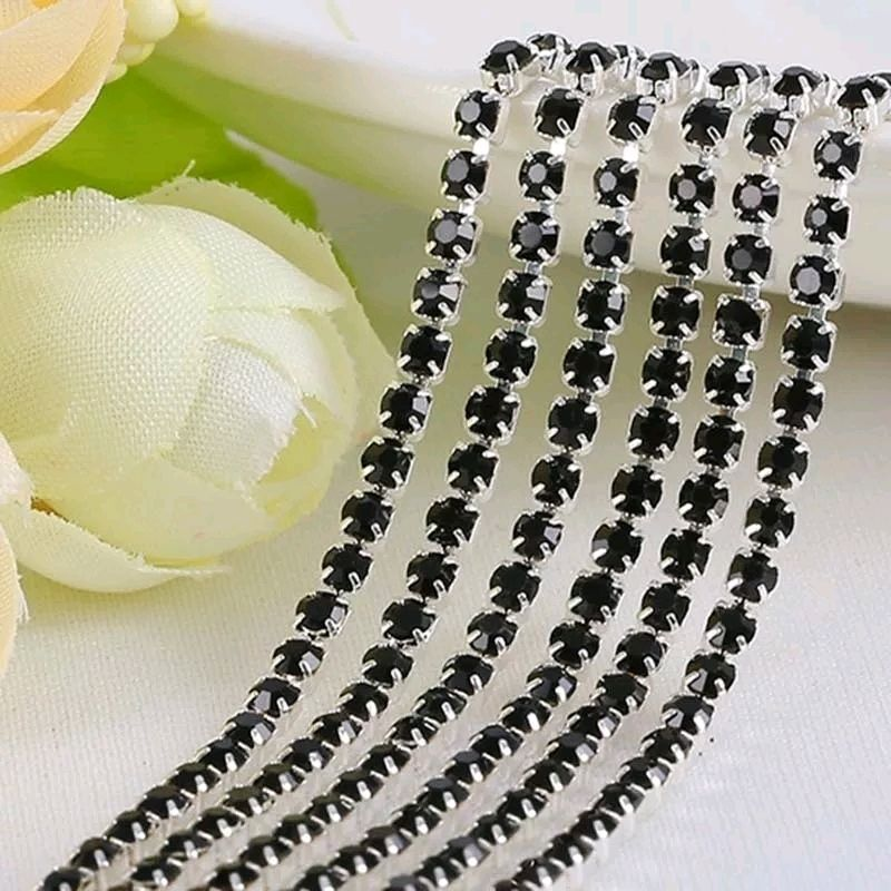 Стразовая лента Черный Джет в серебре 2 мм, Цепочки, Санкт-Петербург,  Фото №1