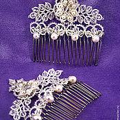 """Свадебный салон ручной работы. Ярмарка Мастеров - ручная работа Свадебные гребни """"Вальс цветов"""",украшение для прически невесты. Handmade."""