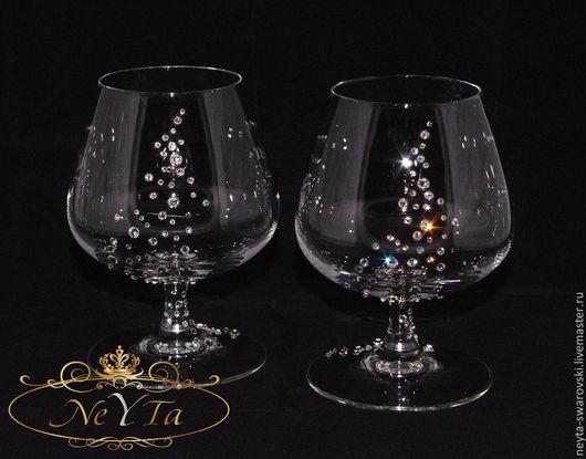 Бокалы, стаканы ручной работы. Ярмарка Мастеров - ручная работа. Купить Коньячная пара в кристаллах SWAROVSKI.. Handmade. Бокалы