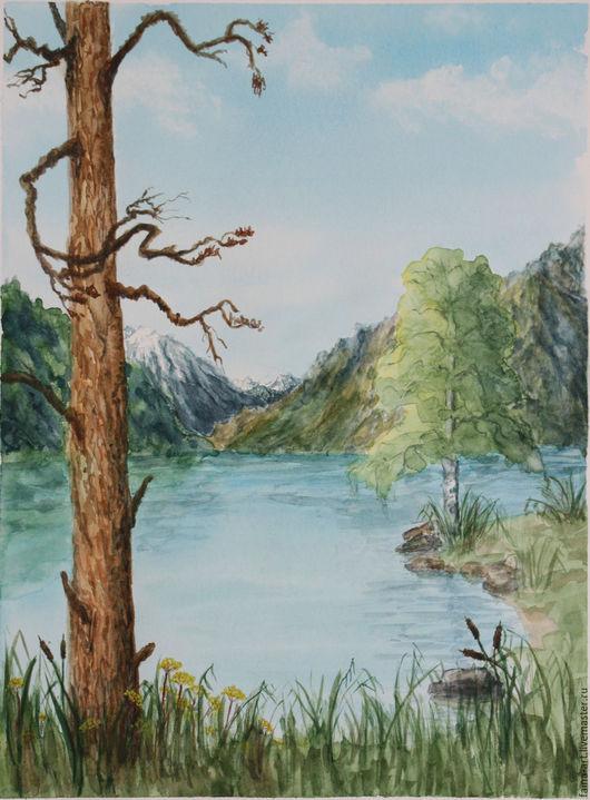 """Пейзаж ручной работы. Ярмарка Мастеров - ручная работа. Купить """"Озеро на Алтае"""", пейзаж, картина акварелью, акварель. Handmade. Зеленый"""
