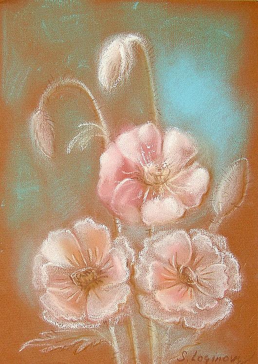 Картины цветов ручной работы. Ярмарка Мастеров - ручная работа. Купить Нежные маки... пастель. Handmade. Белый, цветы, весенняя