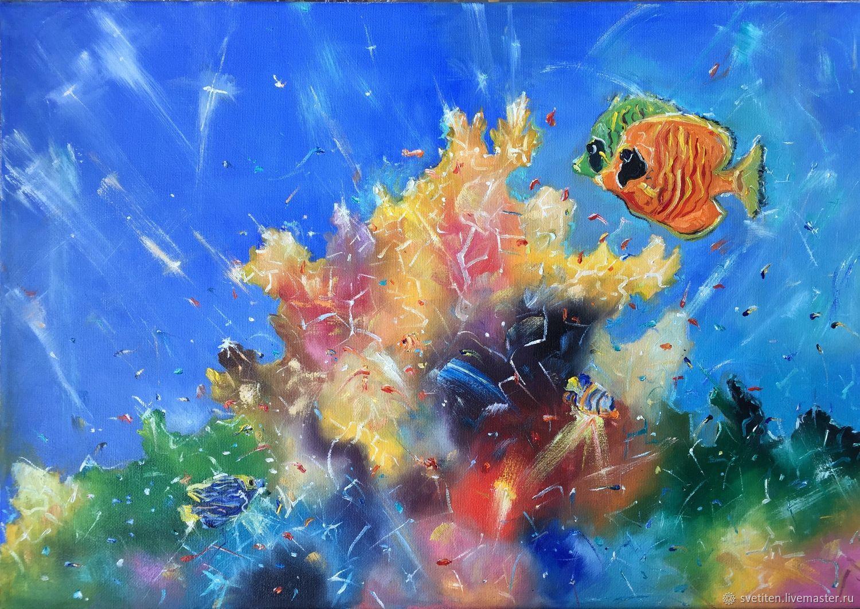 Авторская картина «Подводное царство», 35 на 50 см, Картины, Москва,  Фото №1