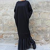 Одежда ручной работы. Ярмарка Мастеров - ручная работа Черное зимное макси повседневное длинное платье с рукавами. Handmade.