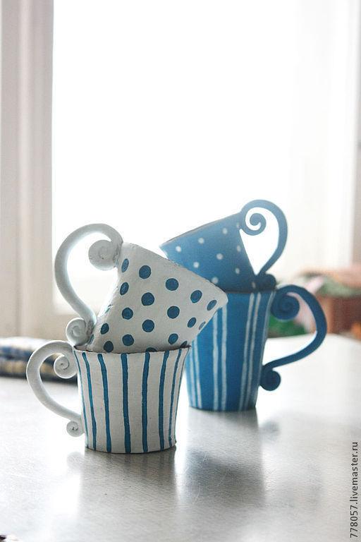 """Кружки и чашки ручной работы. Ярмарка Мастеров - ручная работа. Купить серия """"Морозное утро"""". Handmade. Голубой, кружки, кофе"""